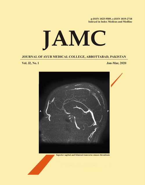 View Vol. 32 No. 1 (2020): JOURNAL OF AYUB MEDICAL COLLEGE, ABBOTTABAD