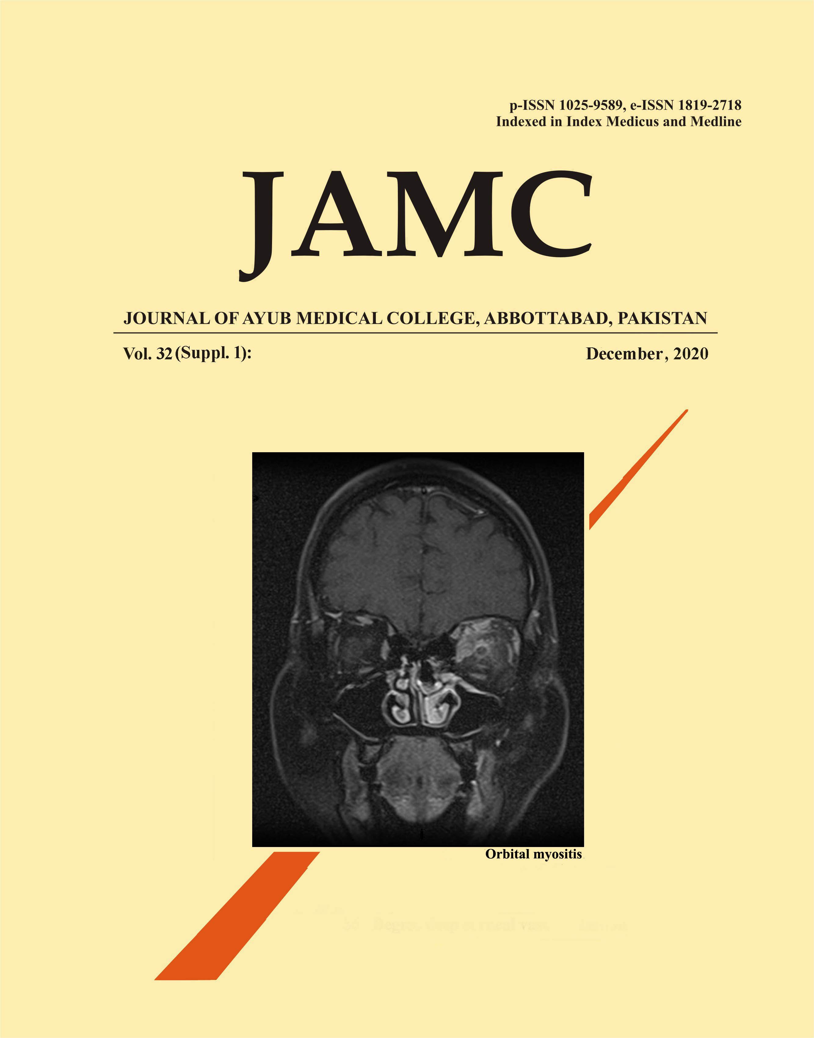 View Vol. 32 No. 4-Sup 1 (2020): JOURNAL OF AYUB MEDICAL COLLEGE, ABBOTTABAD