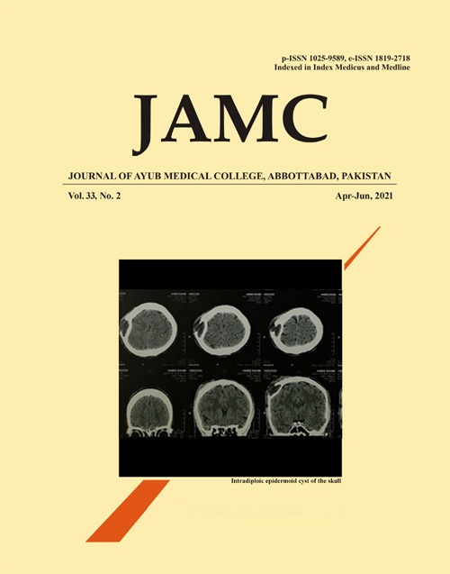 View Vol. 33 No. 2 (2021): Journal of Ayub Medical College Abbottabad