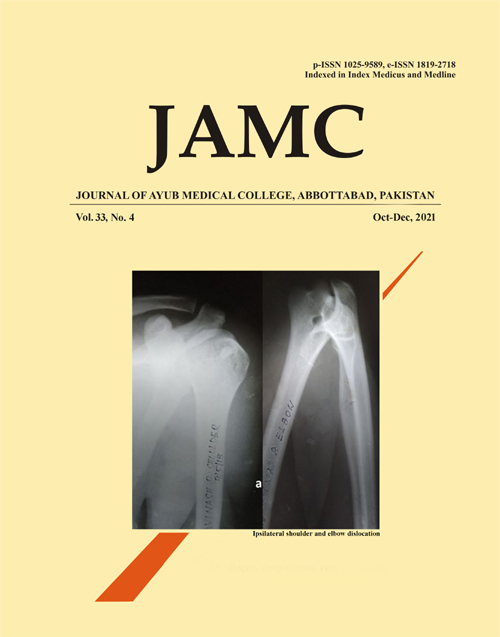 View Vol. 33 No. 4 (2021): Journal of Ayub Medical College Abbottabad
