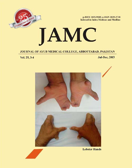 View Vol. 25 No. 3-4 (2013): JOURNAL OF AYUB MEDICAL COLLEGE, ABBOTTABAD
