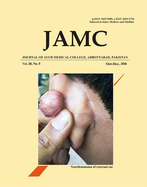 View Vol. 28 No. 4 (2016): JOURNAL OF AYUB MEDICAL COLLEGE, ABBOTTABAD