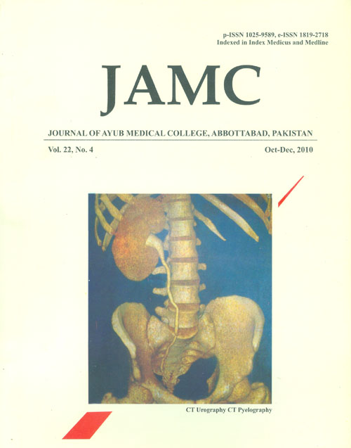 View Vol. 22 No. 4 (2010): JOURNAL OF AYUB MEDICAL COLLEGE, ABBOTTABAD