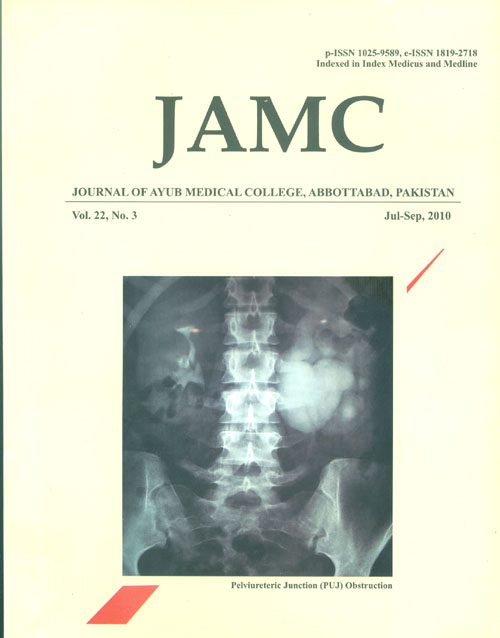 View Vol. 22 No. 3 (2010): JOURNAL OF AYUB MEDICAL COLLEGE, ABBOTTABAD