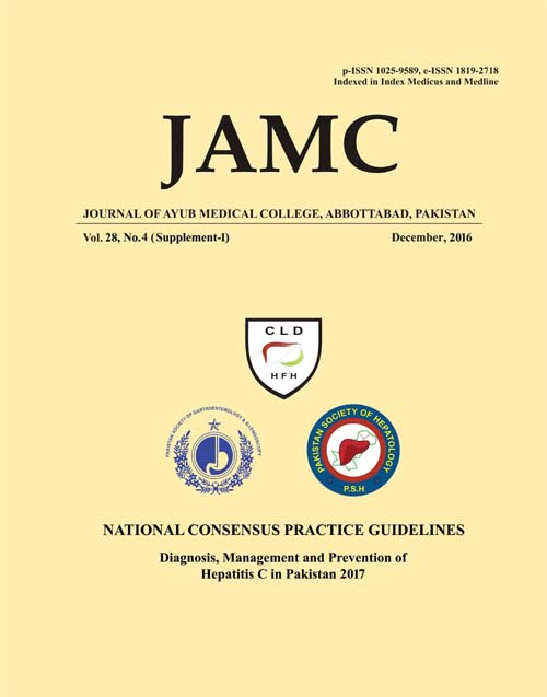 View Vol. 28 No. 4 Sup (2016): JOURNAL OF AYUB MEDICAL COLLEGE, ABBOTTABAD