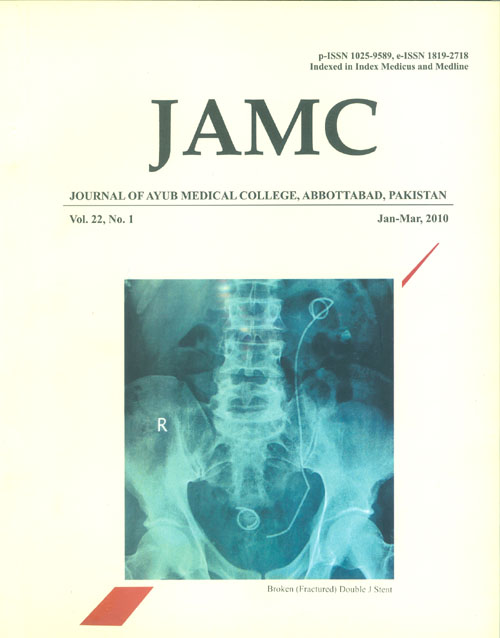 View Vol. 22 No. 1 (2010): JOURNAL OF AYUB MEDICAL COLLEGE, ABBOTTABAD