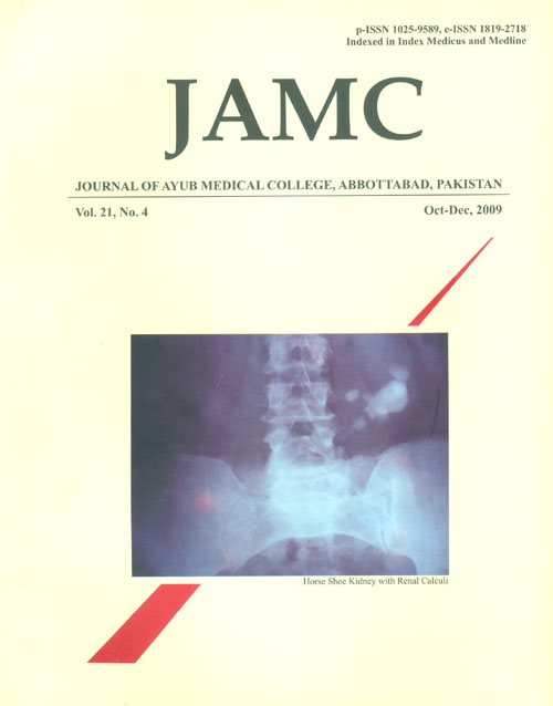 View Vol. 21 No. 4 (2009): JOURNAL OF AYUB MEDICAL COLLEGE, ABBOTTABAD