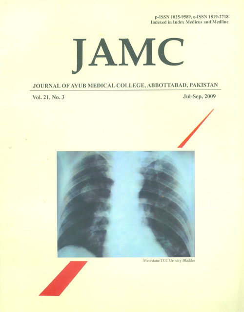 View Vol. 21 No. 3 (2009): JOURNAL OF AYUB MEDICAL COLLEGE, ABBOTTABAD