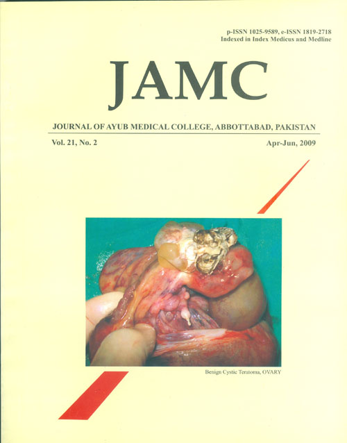 View Vol. 21 No. 2 (2009): JOURNAL OF AYUB MEDICAL COLLEGE, ABBOTTABAD