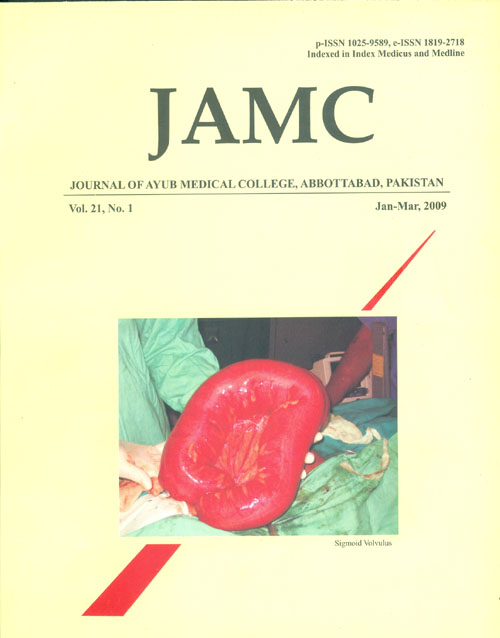 View Vol. 21 No. 1 (2009): JOURNAL OF AYUB MEDICAL COLLEGE, ABBOTTABAD