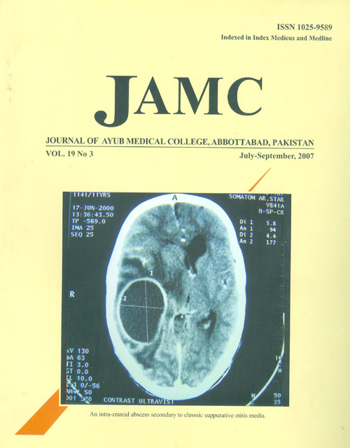 View Vol. 19 No. 3 (2007): JOURNAL OF AYUB MEDICAL COLLEGE, ABBOTTABAD