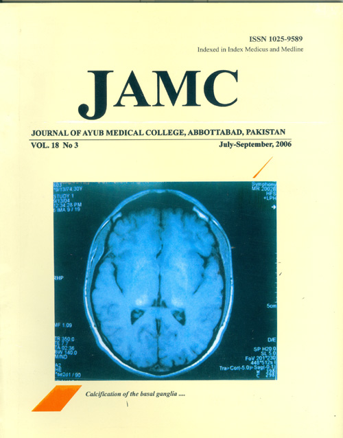 View Vol. 18 No. 3 (2006): JOURNAL OF AYUB MEDICAL COLLEGE, ABBOTTABAD