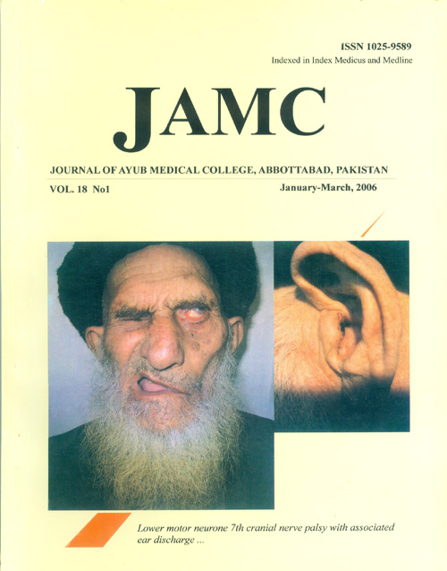 View Vol. 18 No. 1 (2006): JOURNAL OF AYUB MEDICAL COLLEGE, ABBOTTABAD