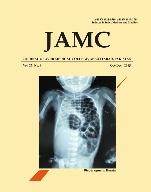 View Vol. 27 No. 4 (2015): Journal of Ayub Medical College, Abbottabad