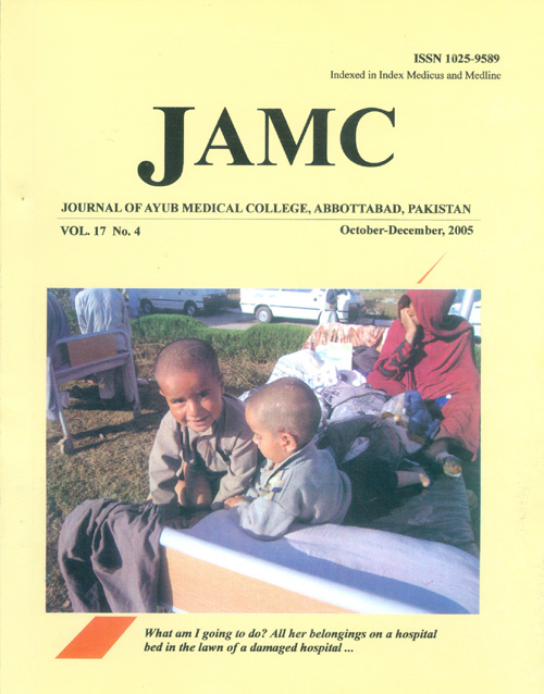 View Vol. 17 No. 4 (2005): JOURNAL OF AYUB MEDICAL COLLEGE, ABBOTTABAD