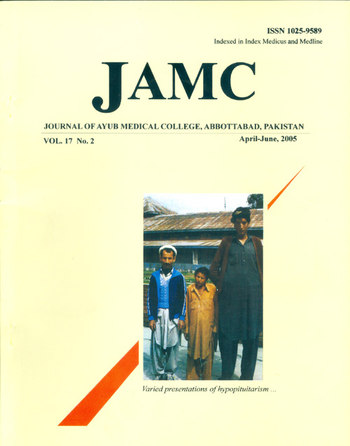 View Vol. 17 No. 2 (2005): JOURNAL OF AYUB MEDICAL COLLEGE, ABBOTTABAD