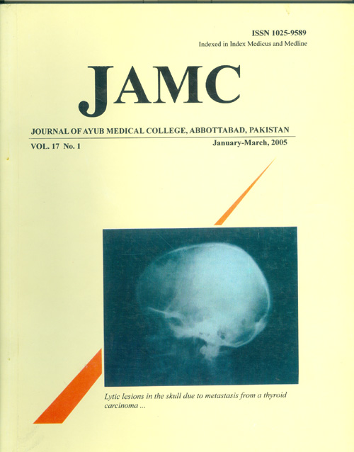 View Vol. 17 No. 1 (2005): JOURNAL OF AYUB MEDICAL COLLEGE, ABBOTTABAD