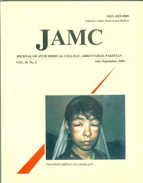View Vol. 16 No. 3 (2004): JOURNAL OF AYUB MEDICAL COLLEGE, ABBOTTABAD