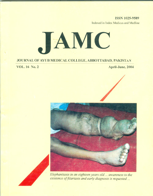 View Vol. 16 No. 2 (2004): JOURNAL OF AYUB MEDICAL COLLEGE, ABBOTTABAD