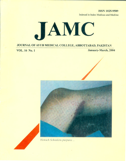 View Vol. 16 No. 1 (2004): JOURNAL OF AYUB MEDICAL COLLEGE, ABBOTTABAD