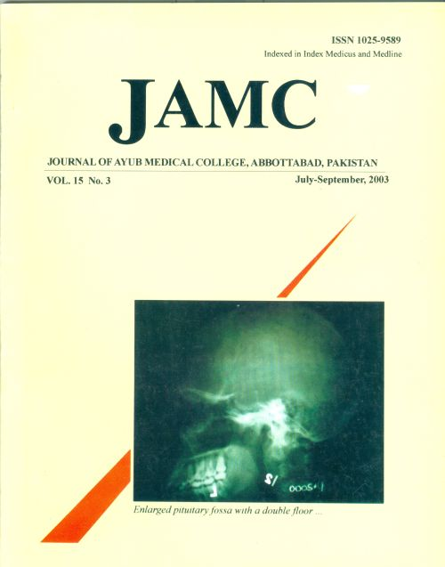 View Vol. 15 No. 3 (2003): JOURNAL OF AYUB MEDICAL COLLEGE, ABBOTTABAD