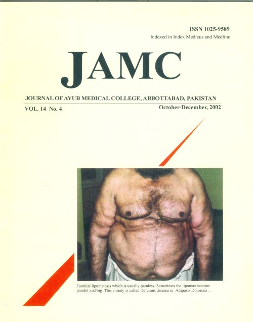View Vol. 14 No. 4 (2002): JOURNAL OF AYUB MEDICAL COLLEGE, ABBOTTABAD