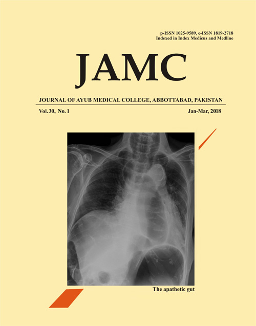 View Vol. 30 No. 1 (2018): JOURNAL OF AYUB MEDICAL COLLEGE, ABBOTTABAD