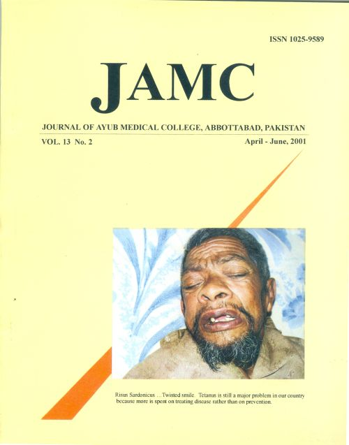 View Vol. 13 No. 2 (2001): JOURNAL OF AYUB MEDICAL COLLEGE, ABBOTTABAD