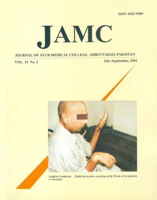 View Vol. 13 No. 3 (2001): JOURNAL OF AYUB MEDICAL COLLEGE, ABBOTTABAD