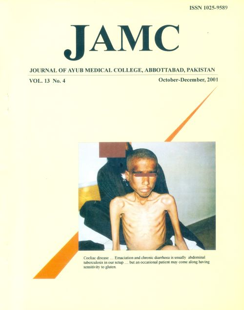 View Vol. 13 No. 4 (2001): JOURNAL OF AYUB MEDICAL COLLEGE, ABBOTTABAD