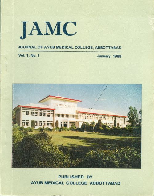 View Vol. 1 No. 1 (1988): JOURNAL OF AYUB MEDICAL COLLEGE, ABBOTTABAD