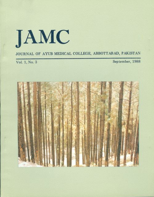 View Vol. 1 No. 3 (1988): JOURNAL OF AYUB MEDICAL COLLEGE, ABBOTTABAD