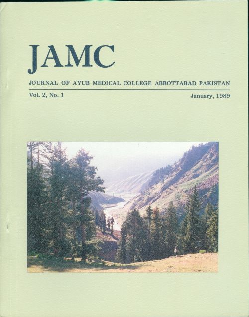 View Vol. 2 No. 1 (1989): JOURNAL OF AYUB MEDICAL COLLEGE, ABBOTTABAD