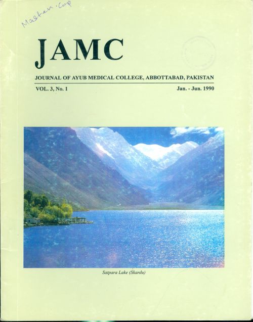 View Vol. 3 No. 2 (1990): JOURNAL OF AYUB MEDICAL COLLEGE, ABBOTTABAD