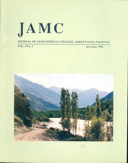 View Vol. 4 No. 1 (1991): JOURNAL OF AYUB MEDICAL COLLEGE, ABBOTTABAD