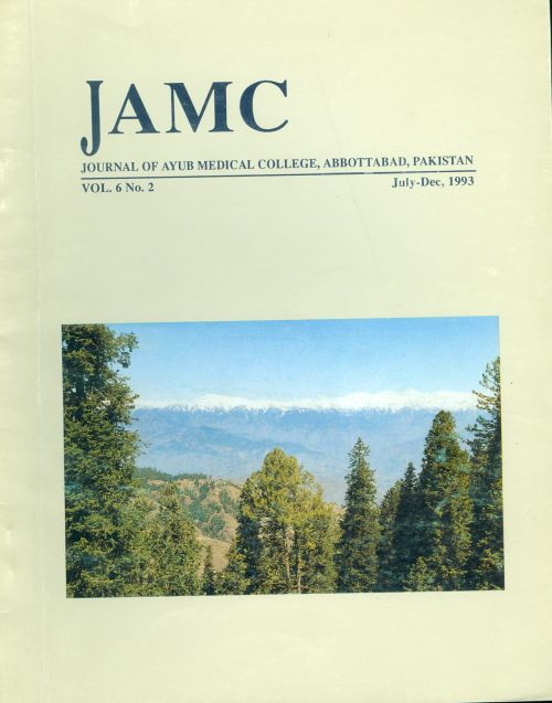 View Vol. 6 No. 2 (1993): JOURNAL OF AYUB MEDICAL COLLEGE, ABBOTTABAD