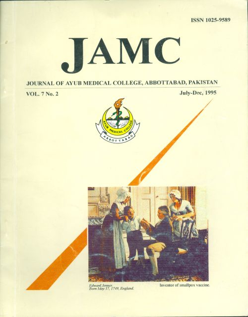 View Vol. 7 No. 2 (1995): JOURNAL OF AYUB MEDICAL COLLEGE, ABBOTTABAD