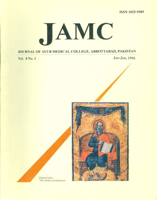 View Vol. 8 No. 1 (1996): JOURNAL OF AYUB MEDICAL COLLEGE, ABBOTTABAD
