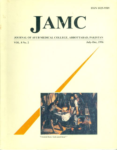 View Vol. 8 No. 2 (1996): JOURNAL OF AYUB MEDICAL COLLEGE, ABBOTTABAD