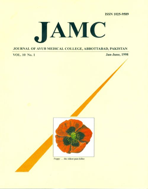 View Vol. 10 No. 1 (1998): JOURNAL OF AYUB MEDICAL COLLEGE, ABBOTTABAD