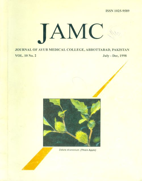 View Vol. 10 No. 2 (1998): JOURNAL OF AYUB MEDICAL COLLEGE, ABBOTTABAD