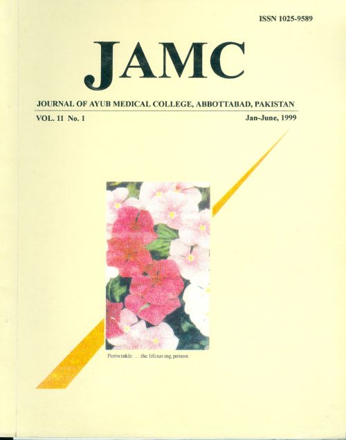 View Vol. 11 No. 1 (1999): JOURNAL OF AYUB MEDICAL COLLEGE, ABBOTTABAD