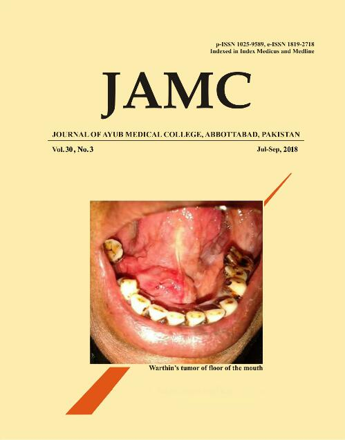 View Vol. 30 No. 3 (2018): JOURNAL OF AYUB MEDICAL COLLEGE, ABBOTTABAD