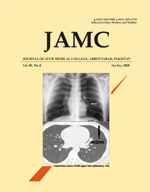 View Vol. 30 No. 4 (2018): JOURNAL OF AYUB MEDICAL COLLEGE, ABBOTTABAD